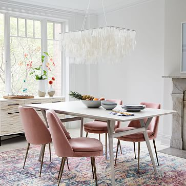 """Mid-Century Expandable Dining Table, 72-92"""", Pebble"""