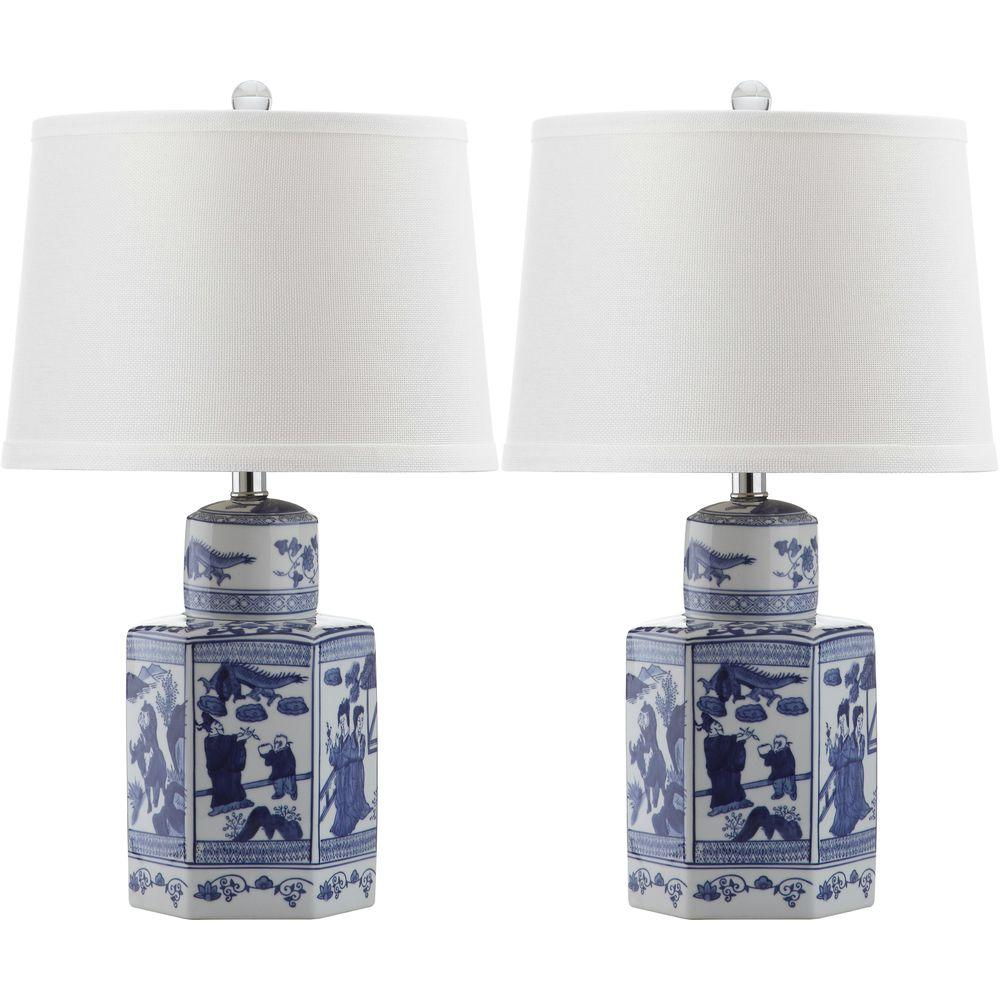 Safavieh Judy 27 in. Antique White Table Lamp with Off-White Shade (Set of 2)