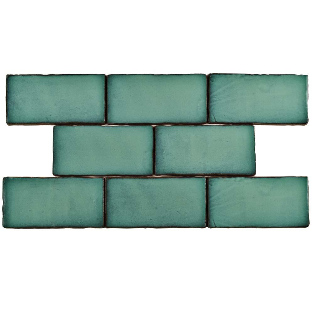 Merola Tile Antic Special Lava Verde 3 in. x 6 in. Ceramic Wall Tile (1 sq. ft. / pack), Lava Verde/Medium Sheen