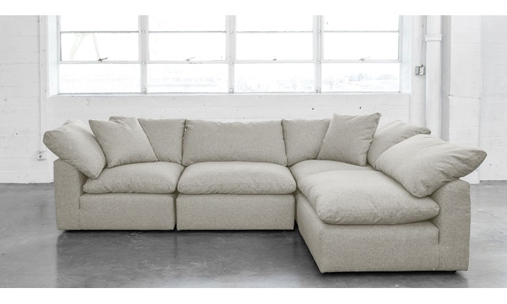 Beige Bryant Mid Century Modern L-Sectional (4 piece) - Prime Stone