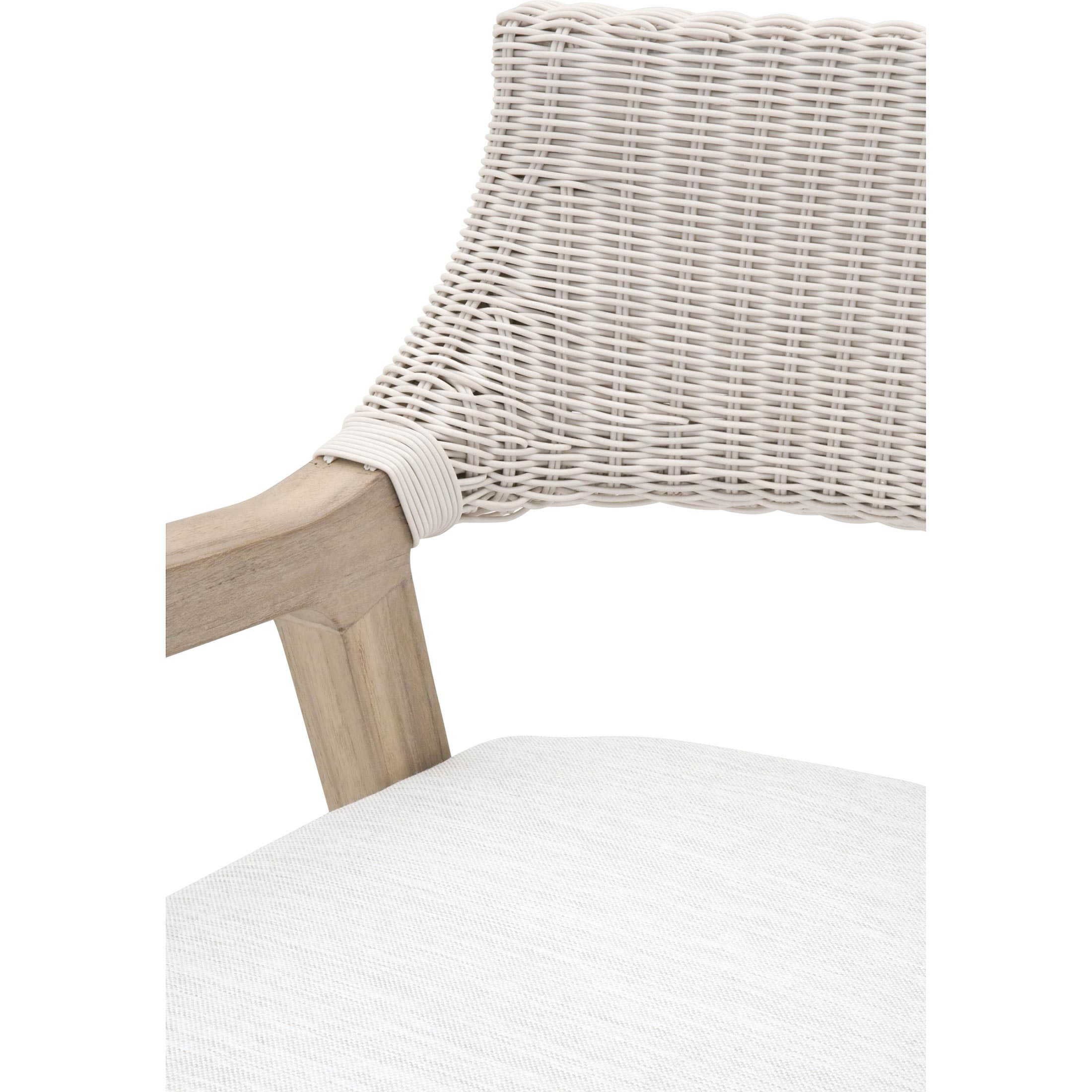 Lucile Modern Classic Woven Wicker Grey Teak Frame Outdoor Dining Chair
