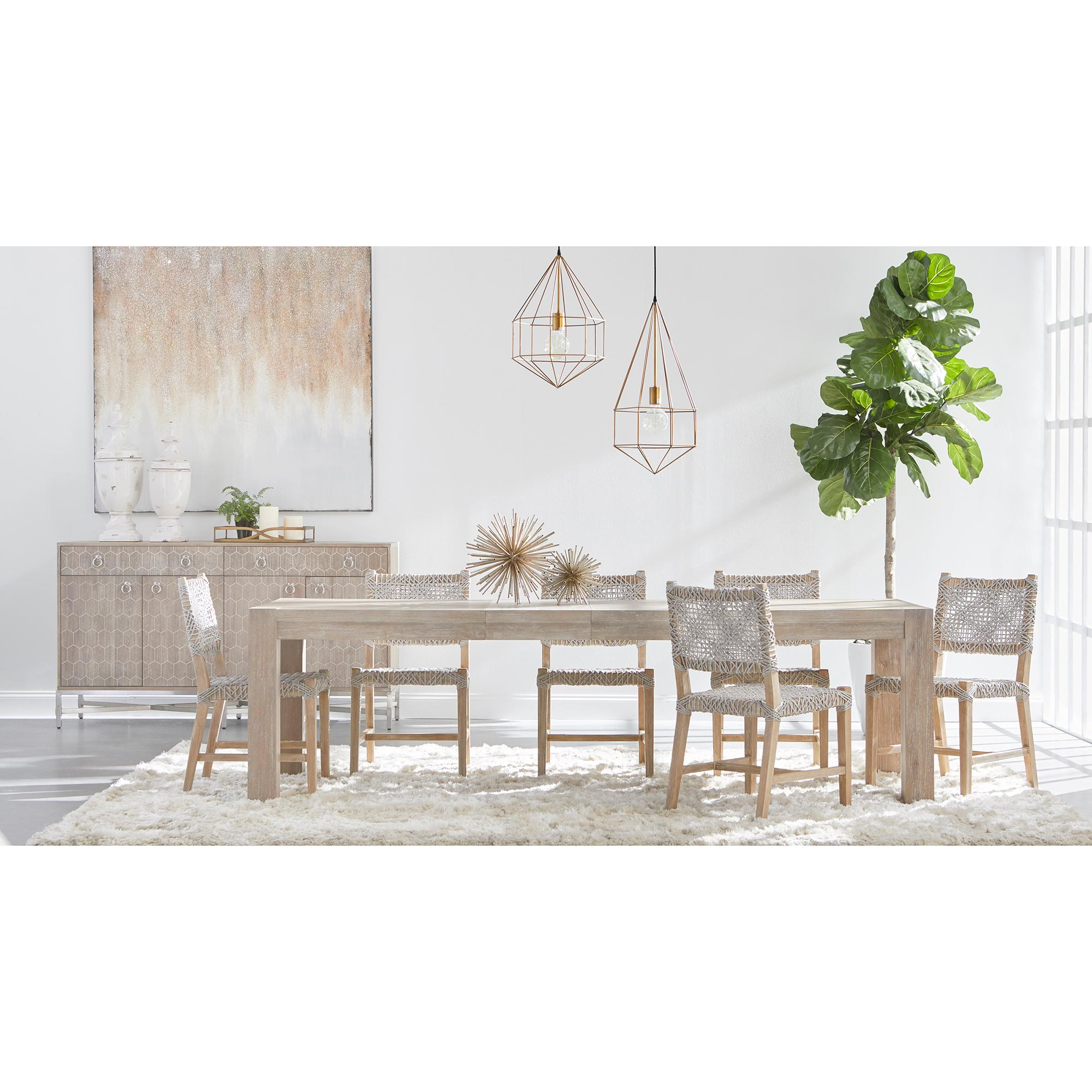 Astrid Modern Classic Natural Solid Acacia Extendable Dining Table