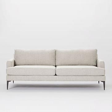 Andes Grand Sofa, Poly, Astor Velvet, Frost Gray, Blackened Brass