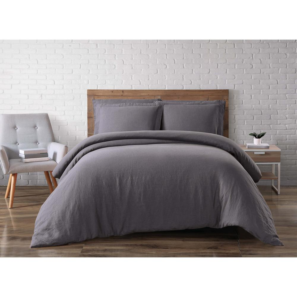 Linen Charcoal (Grey) King Duvet Set