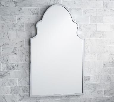 "Stella Powder Room Mirror, 22 x 36"", Chrome"