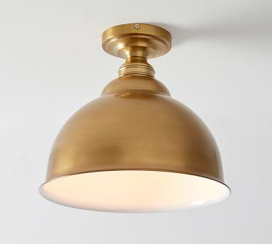 High Gloss Metal Pendant Hood - Bell w/ Bronze finish Flushmount Kit, Large, Nickel