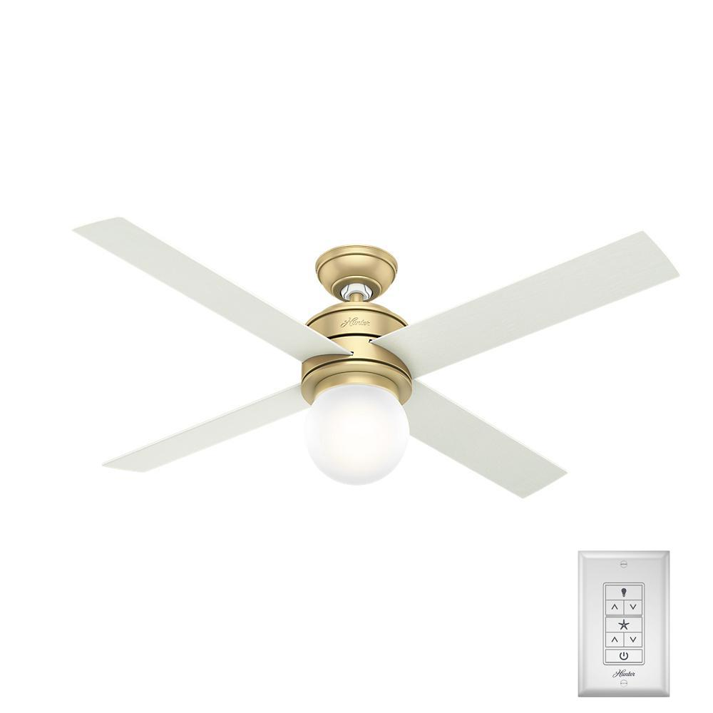 Hunter Hepburn 52 in. LED Indoor Modern Brass Ceiling Fan