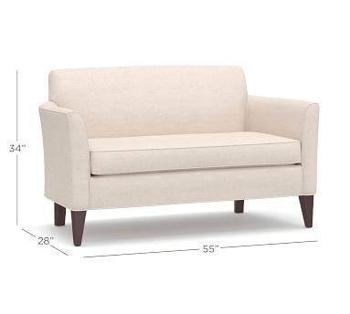 Marcel Upholstered Mini Sofa, Polyester Wrapped Cushions, Performance Plush Velvet Navy