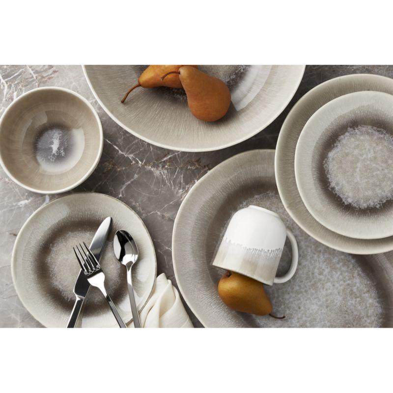 Caspian 16-Piece Grey Reactive Glaze Dinnerware Set
