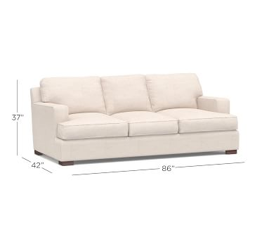 """Townsend Square Arm Upholstered Sofa 86"""", Polyester Wrapped Cushions, Organic Cotton Basketweave Light Gray"""