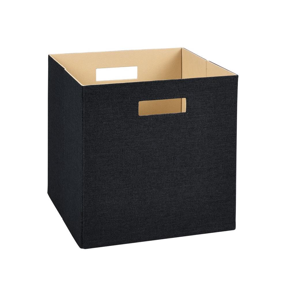 13 in. H x 13 in. W x 13 in. D Decorative Fabric Storage Bin in Black