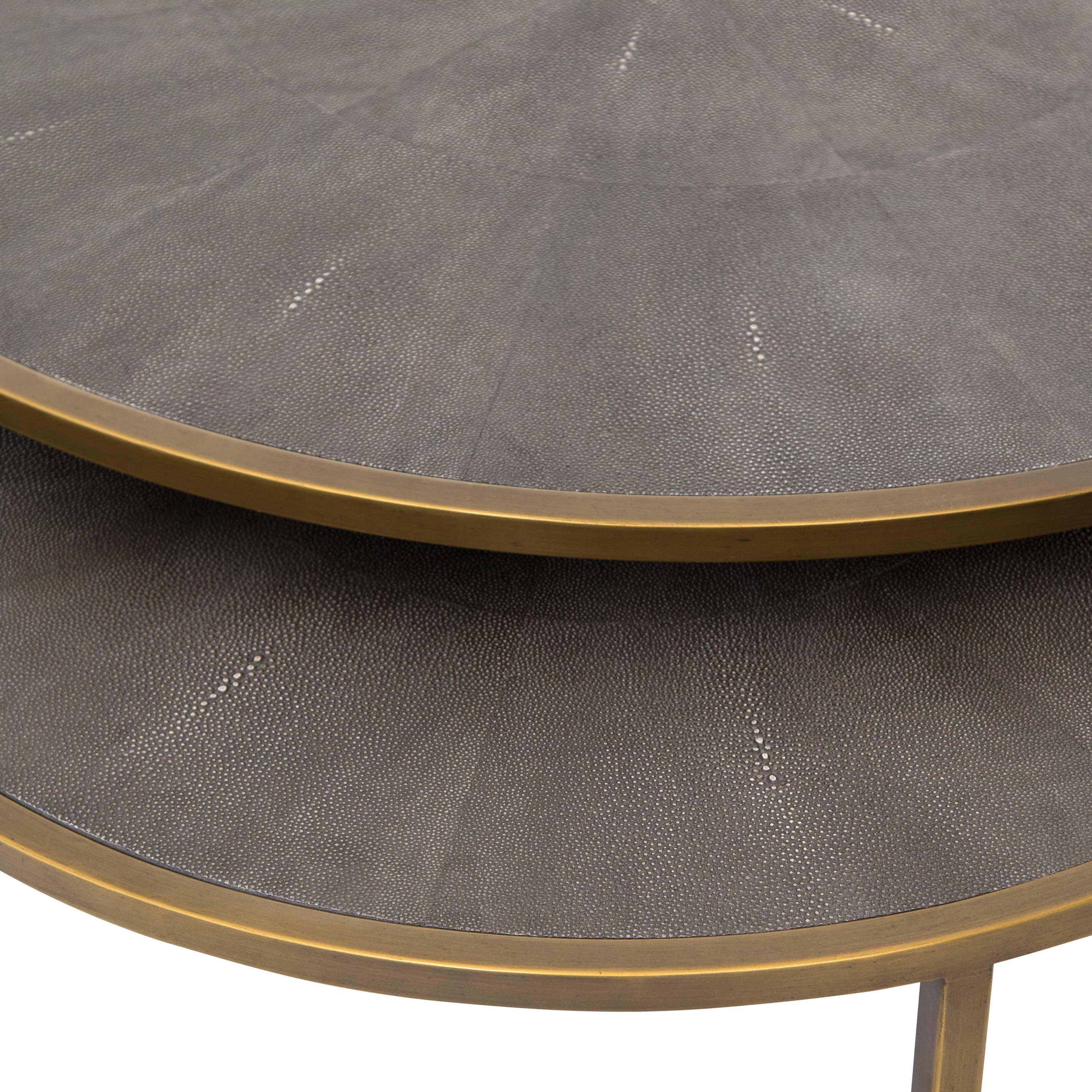 Massey Modern Regency Antique Brass Shagreen Round Nesting Coffee Table