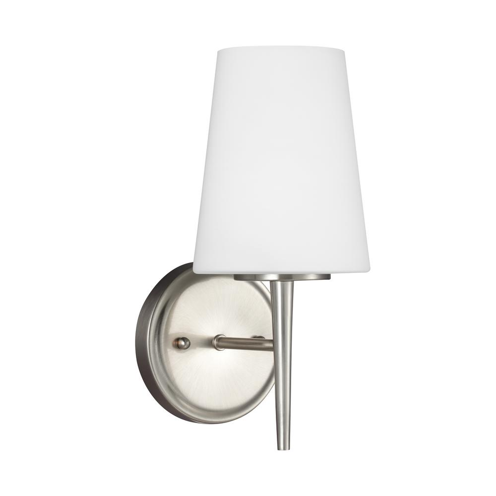 Sea Gull Lighting Driscoll 1-Light Brushed Nickel Sconce with LED Bulb