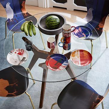 Jensen Round Table, Glass/Walnut