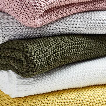 """Cotton Knit Throw, Pink Stone, 50""""x60"""""""