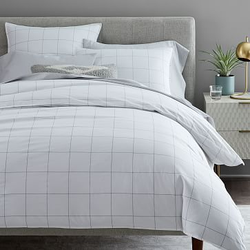 Organic Washed Cotton Windowpane Duvet Cover, Full/Queen, White/Midnight