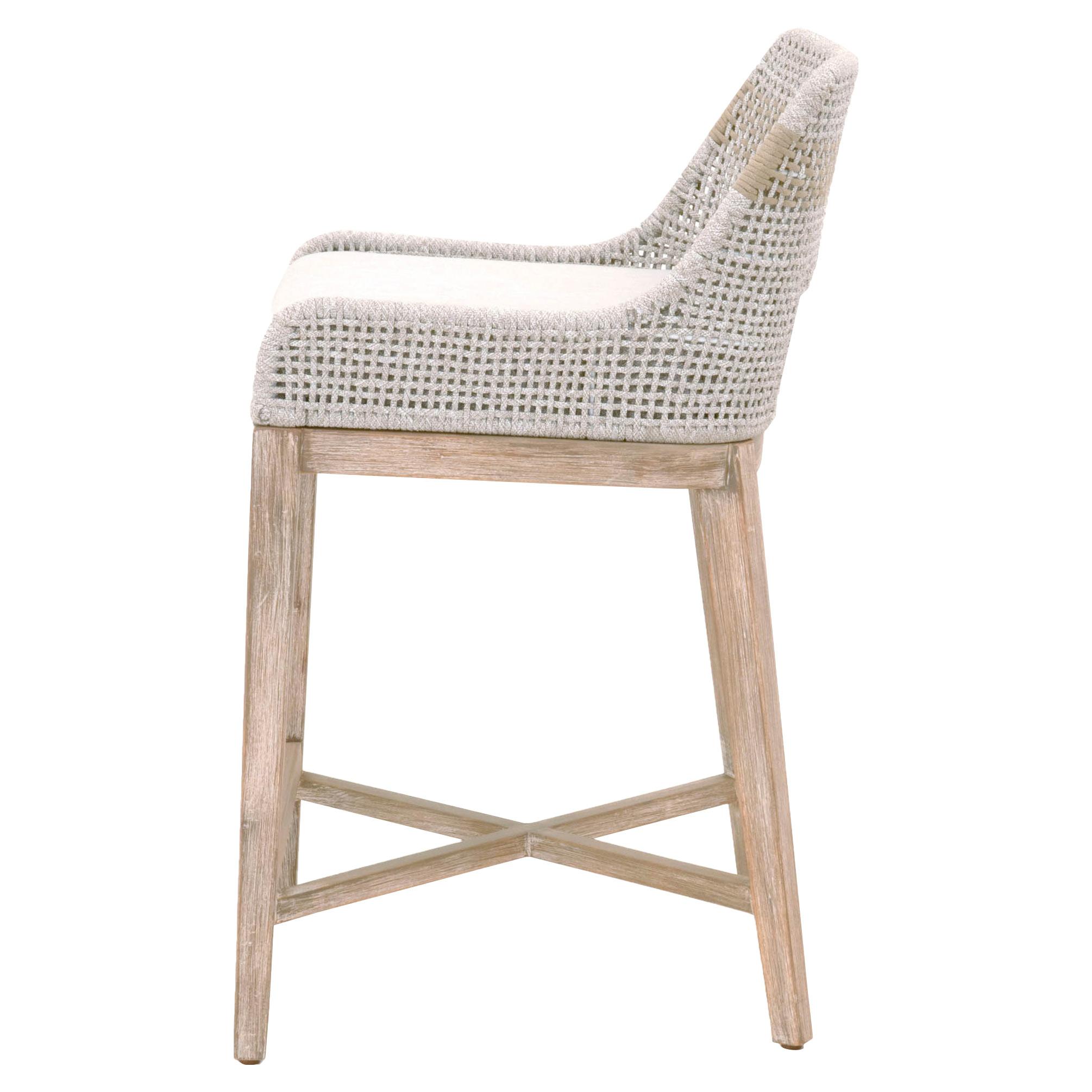 Theodore Modern Classic Grey Woven Fixed Cushion Mahogany Counter Stool
