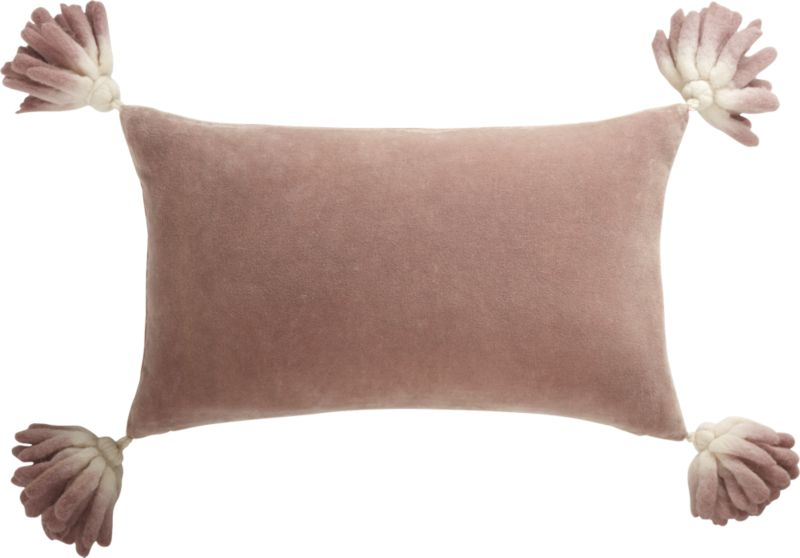 18x12 Bia Tassel Mauve Velvet Pillow with Feather-Down Insert