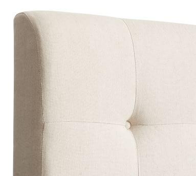 Jenner Square Upholstered Tufted Bed, King, Brushed Crossweave Light Gray