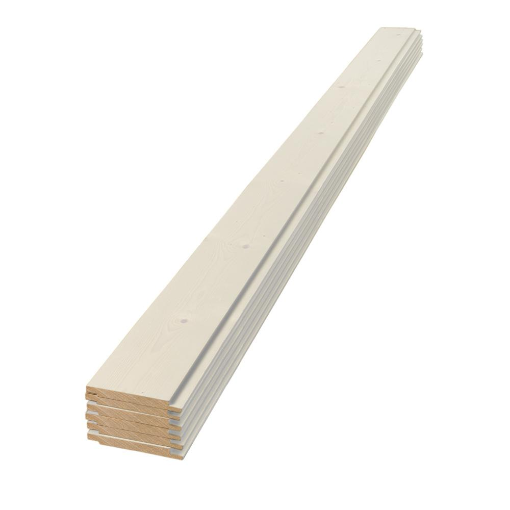 1 in. x 6 in. x 4 ft. Square Edge White Shiplap Pine Board (6-Pack), Wood