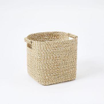 Metallic Woven Storage Basket, Gold, Square