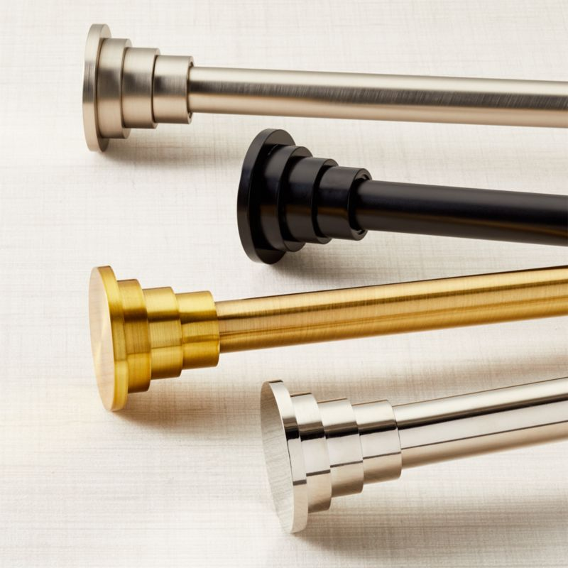 """CB Tiered Matte Black Finial and Curtain Rod Set 48""""-88"""""""