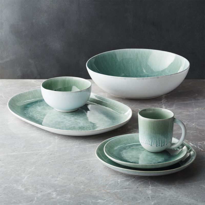 Caspian Aqua Reactive Glaze Serving Bowl