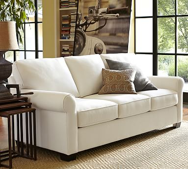 """Buchanan Roll Arm Upholstered Sofa 87"""", Polyester Wrapped Cushions, Brushed Crossweave Navy"""