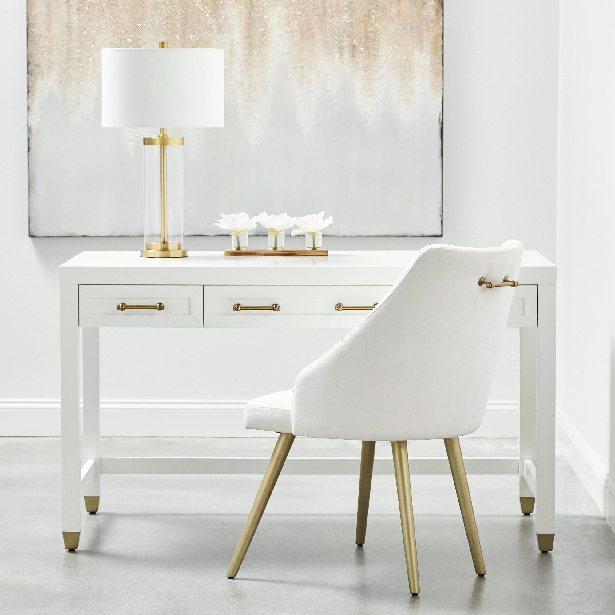 Stacy Modern Classic 3-Drawer Brass Accent White Desk