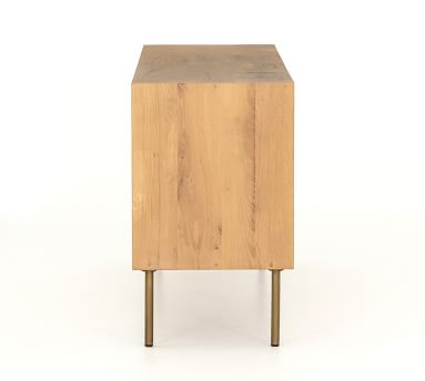 Archdale Extra Wide Dresser, Natural Oak/Satin Brass