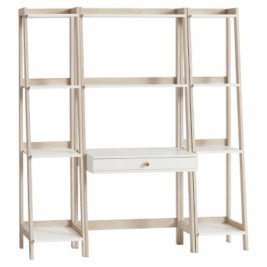 Highland Wall Desk +Narrow Bookcase Set, Simply White/Water-Based Weathered White