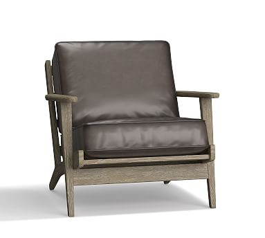 Raylan Leather Armchair, Down Blend Wrapped Cushions, Burnished Wolf Gray