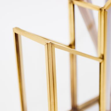 Skyline 4 Section Pencil Holder, Glass/Gold