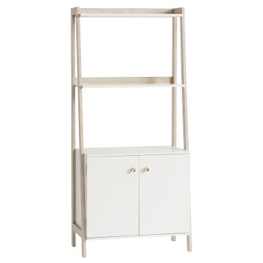 Highland Wide Bookcase with Cabinet, Water-Based Simply White/ Weathered White