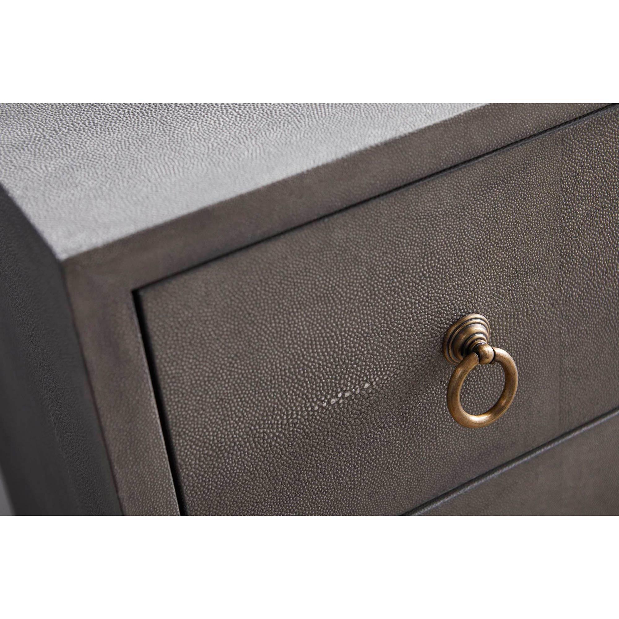 Simon Modern Classic 3-Drawer Grey Shagreen Brushed Gold Nightstand