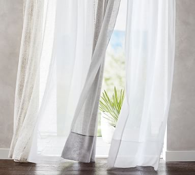 "Belgian Flax Linen Sheer Tie-Top Drape, 50 x 84"", White"