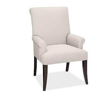 PB Comfort Roll Upholstered Dining Arm Chair, Vintage Stripe Black/Ivory