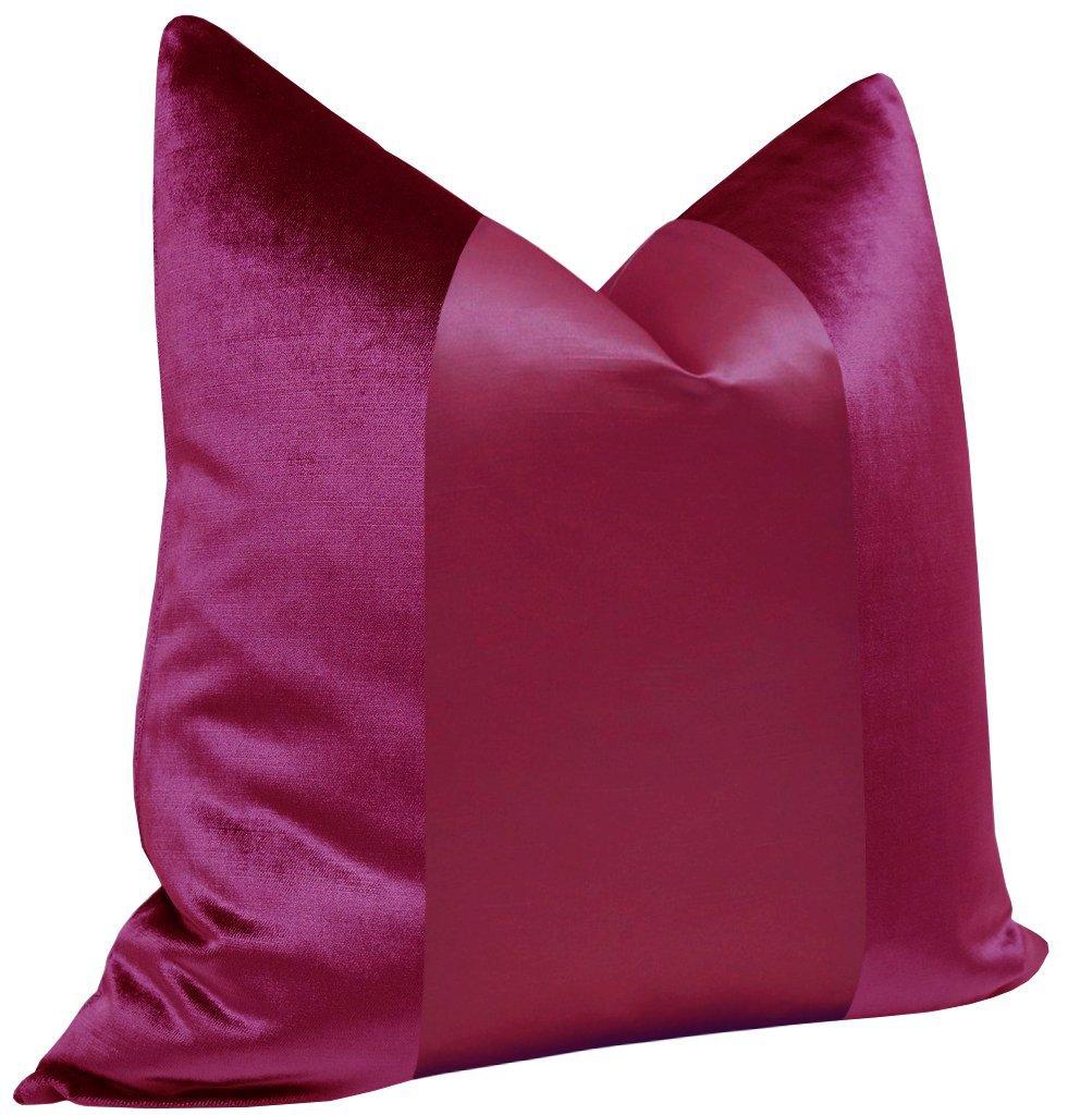 "PANEL Monochromatic :: Faux Silk Velvet // Magenta - 18"" X 18"""
