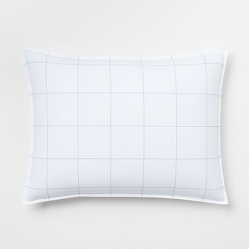 Organic Washed Cotton Windowpane Standard Sham, White/Midnight