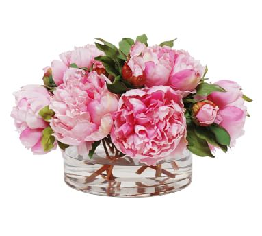 Faux Peonies In Open Cylinder Vase