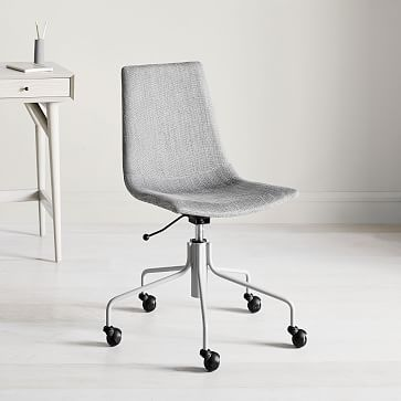Slope Swivel Office Chair, Basketslub, Platinum