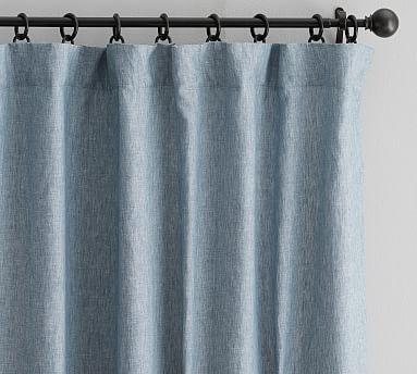 "Classic Belgian Flax Linen Drape, Cotton Lining/ 50 x 96""/ Blue Chambray"