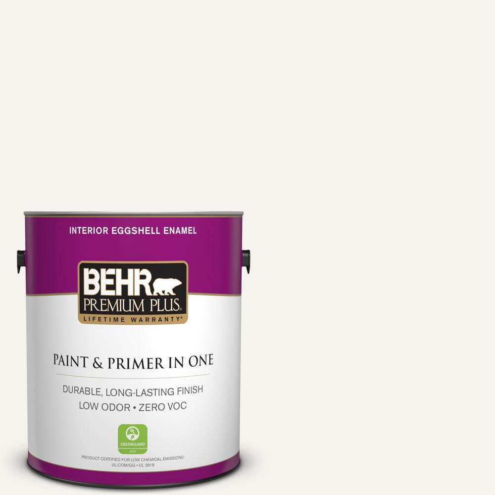 BEHR Premium Plus 1 gal. #pwn-10 Decorator White Eggshell Enamel Zero VOC Interior Paint and Primer in One, Whites