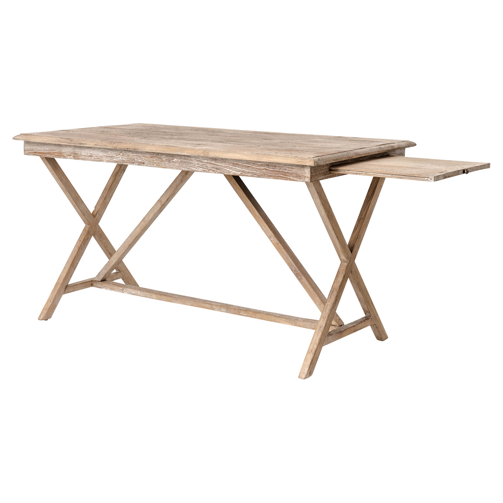 Cyril French Country Rustic White Wash Wood Desk