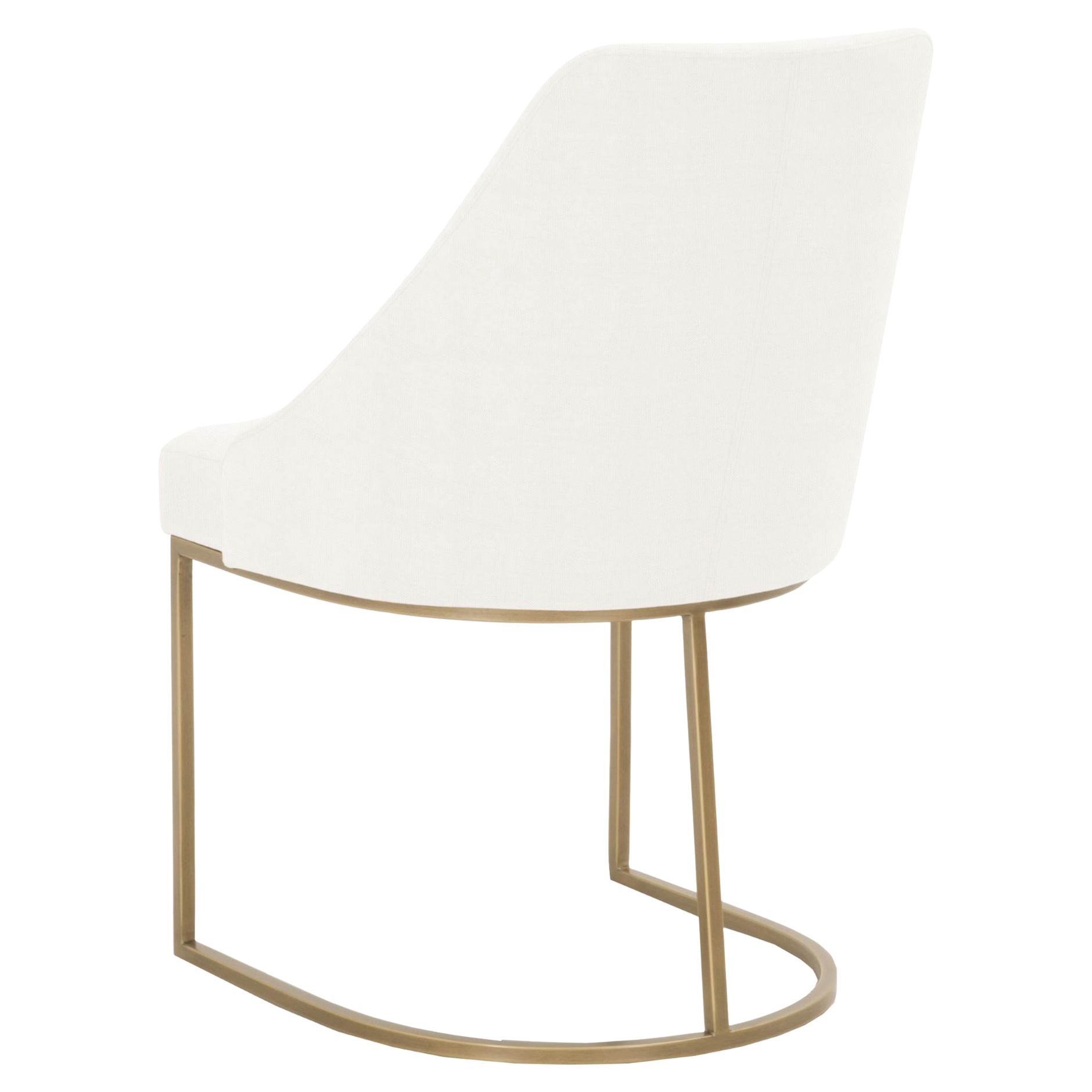 Patricia Modern Brushed Gold Peyton White Upholstered Dining Side Chair - Set of 2