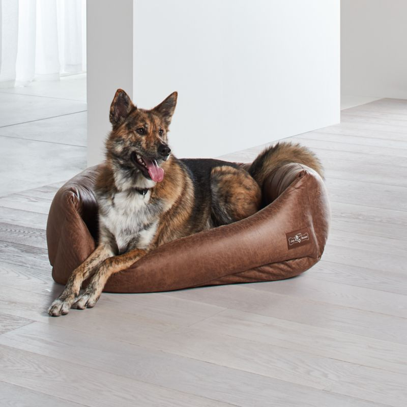 Napper Faux Leather Vintage Large Dog Bed
