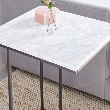 Streamline C-Side Table, Marble, Antique Bronze-Individual