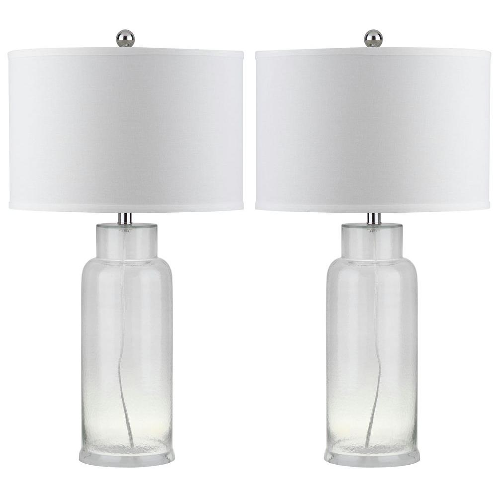 Safavieh Bottle 29 in. Clear Glass Table Lamp (Set of 2)