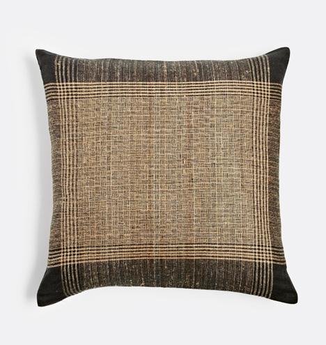 Plaid Handspun Raw Silk Pillow Cover