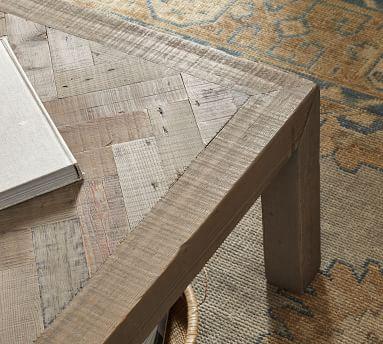 Hadley Herringbone Reclaimed Wood Coffee Table, Manza Gray